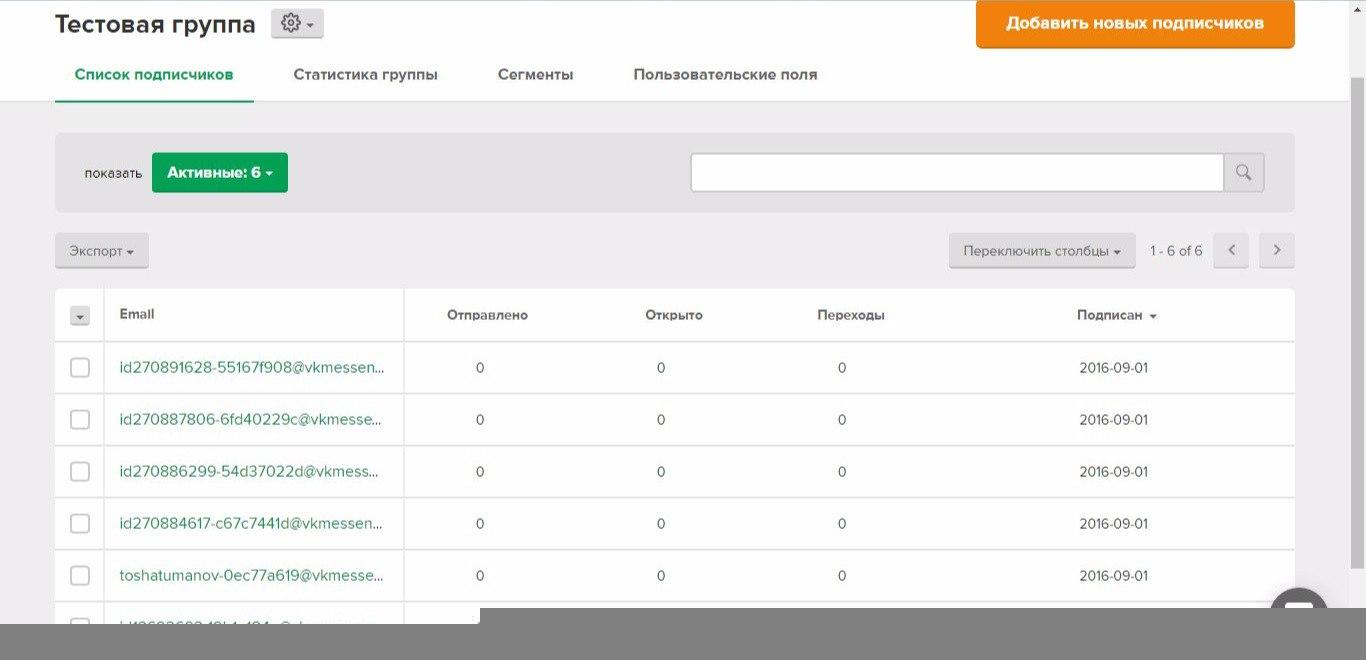 Созданная база вк-эмейлов (vk-messanges). Используется для отправки писем прямо в Личные Сообщения пользователям.